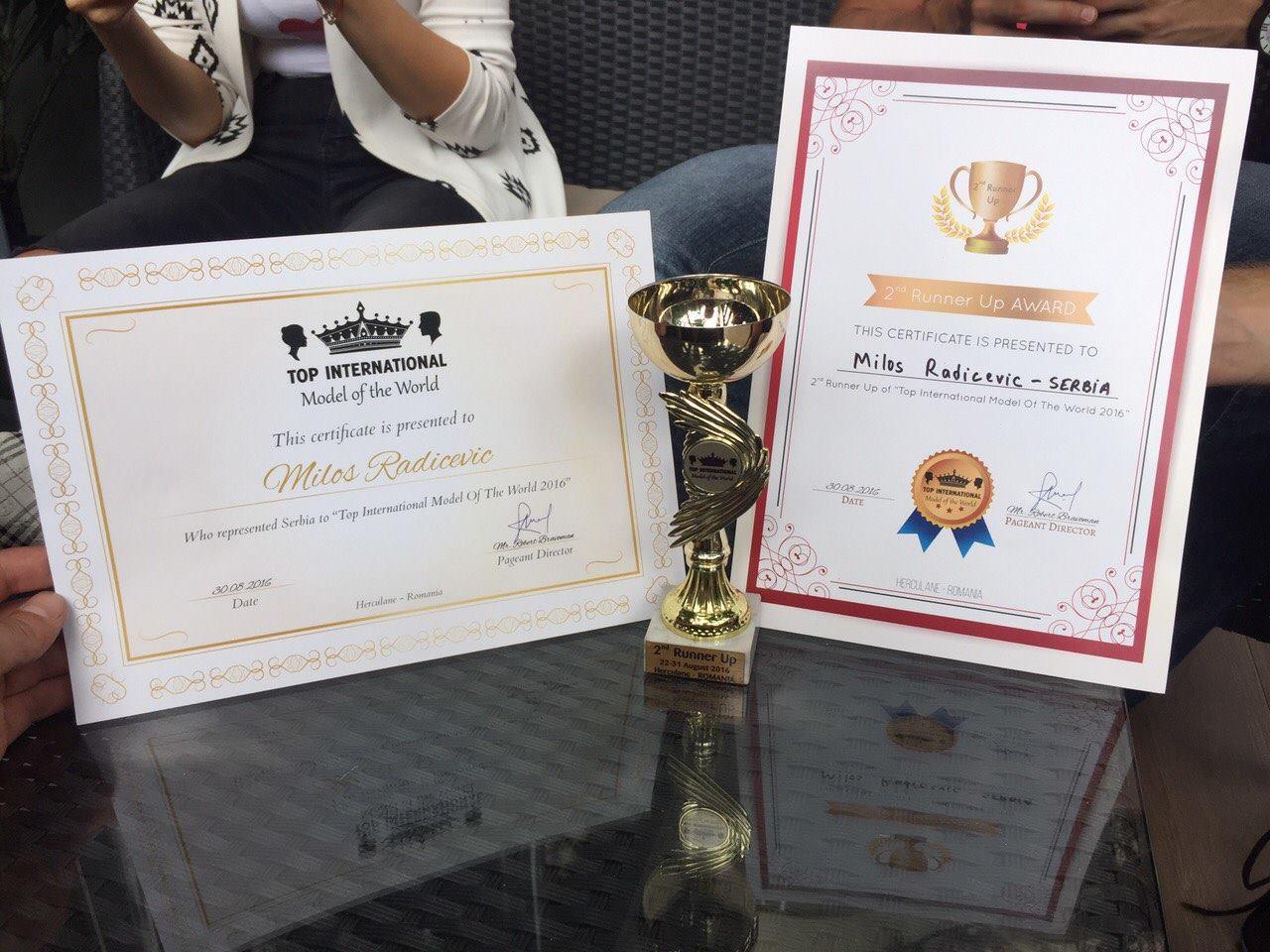 """LEPOTA SRBIJE: Miloš osvojio treće, Amanda drugo mesto na takmičenju """"TOP INTERNATIONAL MODEL OF THE WORLD 2016"""""""