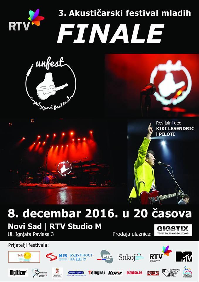 Odabrani finalisti UNFESTa, finale 8.decembra u Novom Sadu uz koncert Kikija Lesandrica i Pilota