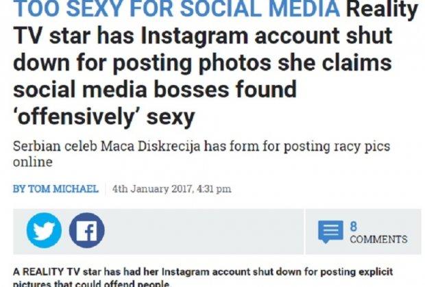 Svetski mediji napisali članak o Maci Diskreciji! Previše SEXY za društvene mreže!