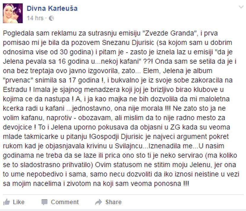 Divna Karleuša odgovorila na izjavu Snežane Đurišić kako je Jelena sa 16 godina pevala u kafani! (FOTO)