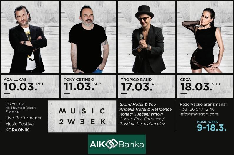 KOPAONIK MUSIC WEEK FESTIVAL POD POKROVITELJSTVOM AIK BANKE