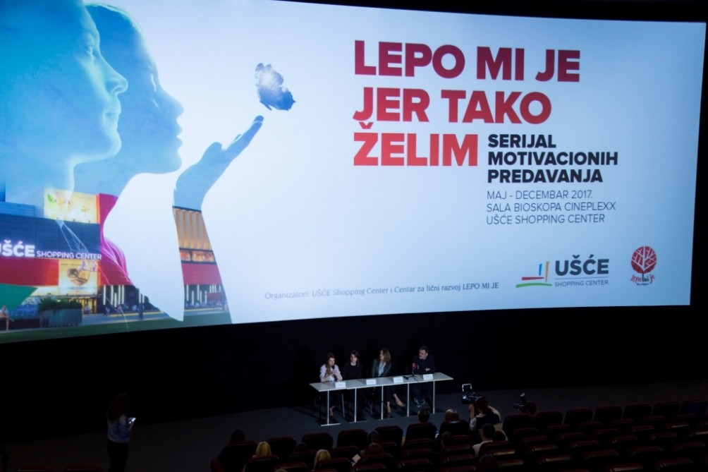 """UŠĆE SHOPPING CENTER POKREĆE SERIJAL MOTIVACIONIH PREDAVANJA """"LEPO MI JE, JER TAKO ŽELIM"""""""