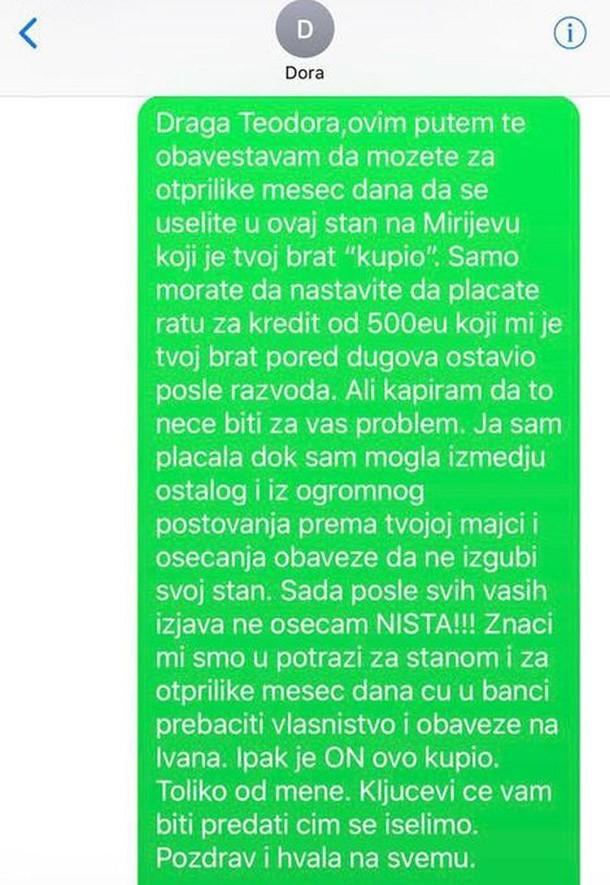 Procurela SMS prepiska Goce Tržan i sestre Ivana Marinkovića oko stana!