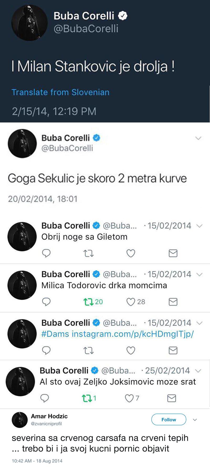 Buba Corelli obrisao Twitter nakon što su otkrivene uvrede na račun kolega