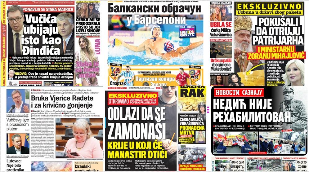 Ovo su naslovne strane današnjih novina!