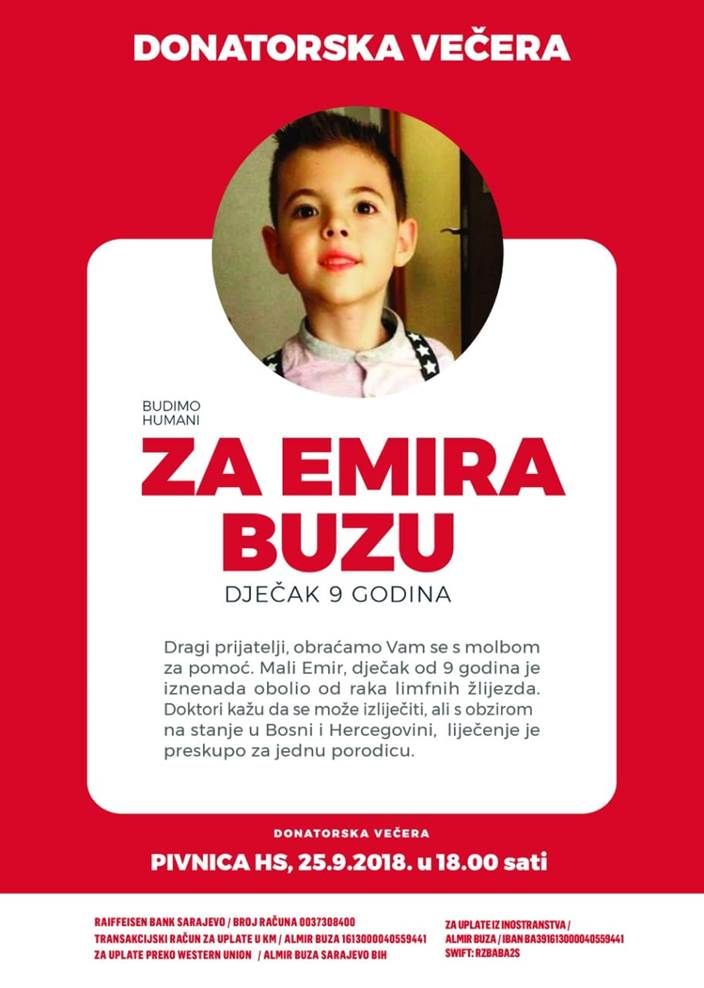 Poziv na donatorsku večeru za Emira Buzu