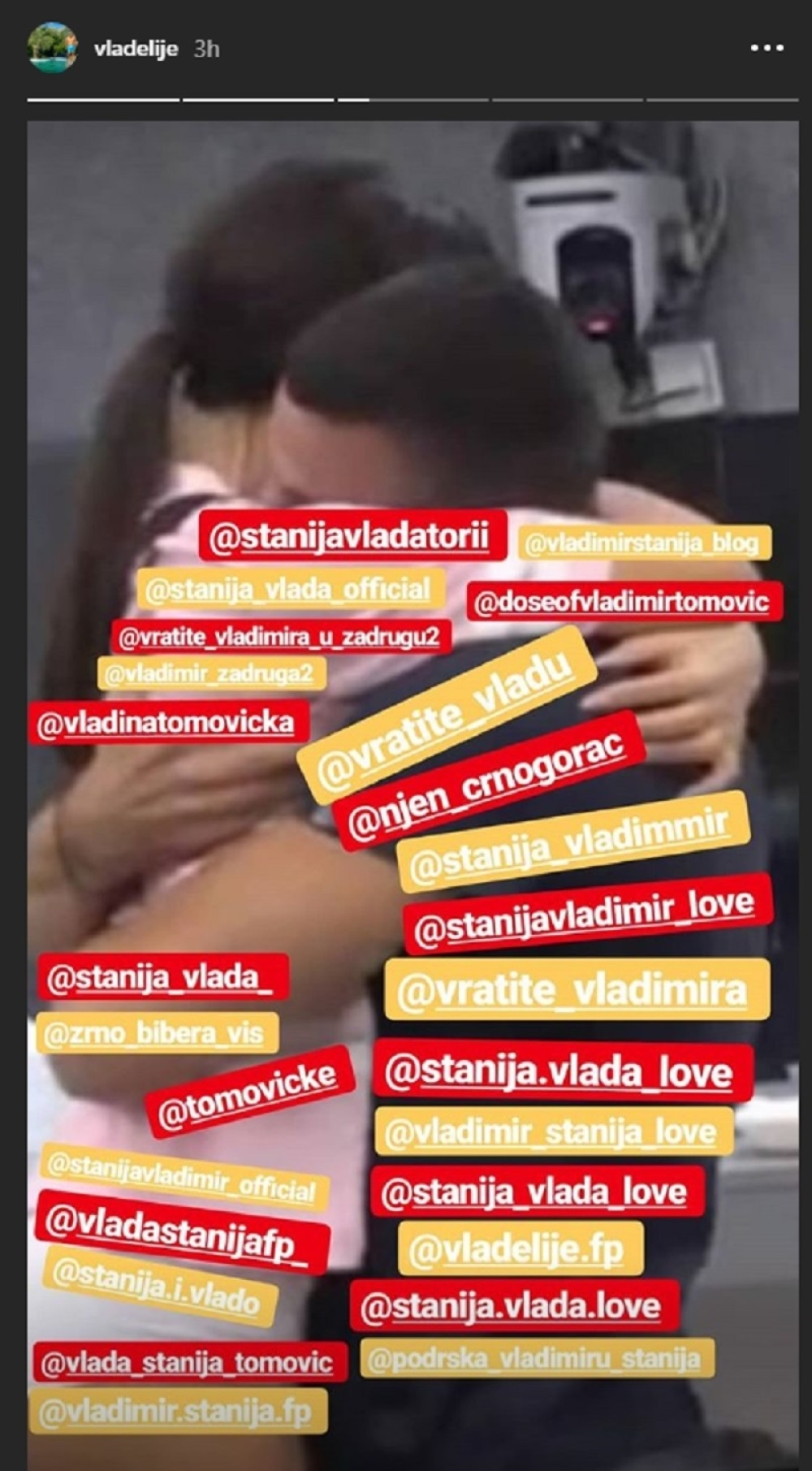 Vladimir Tomović, je uradio nešto za Staniju što nije ni za jednu, te se našao u njenom zagrljaju