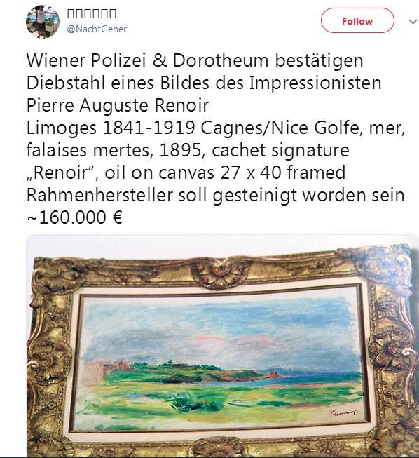 Ukradena Renoarova slika uoči aukcije u Beču