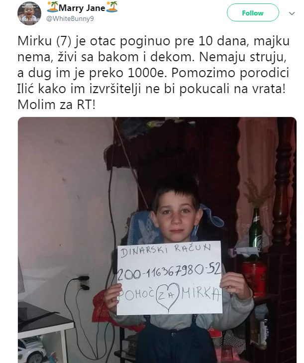MIRKO (7) NEMA NI OCA, NI MAJKU, NI STRUJU, A DUG JE 1.000 EVRA: Srbijo, pokaži od čega si napravljena i pomozi!
