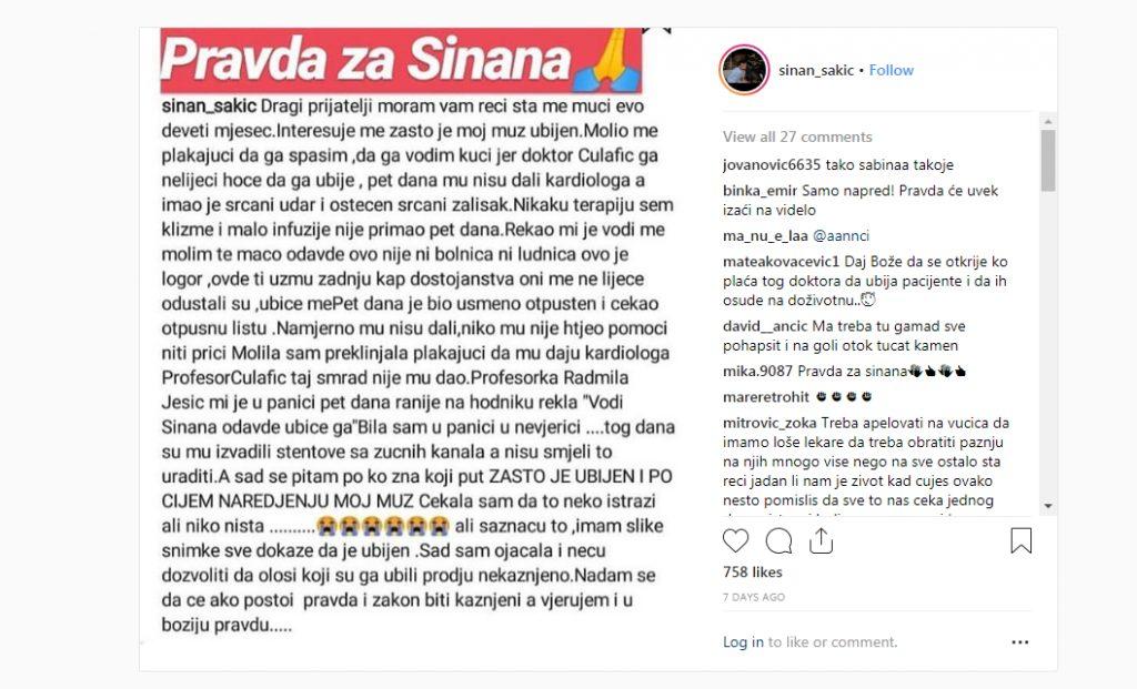 Žena Sinana Sakića optužila lekare da su ga ubili, a onda se oglasio Klinički centar!