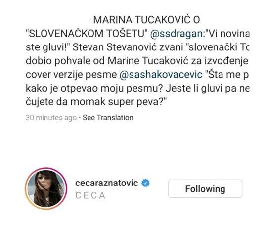 """Ceca i Marina oduševljene vokalom """"slovenačkog Tošeta"""""""