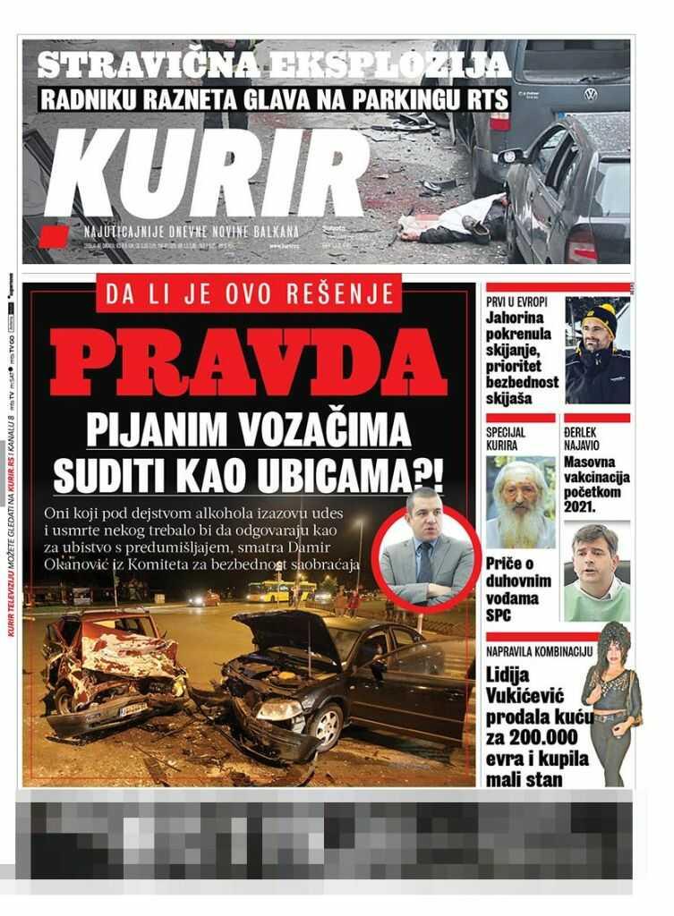 Ovo su naslovne strane novina za subotu 5. decembar