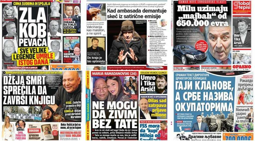 Ovo su naslovne strane novina za utorak 8. decembar