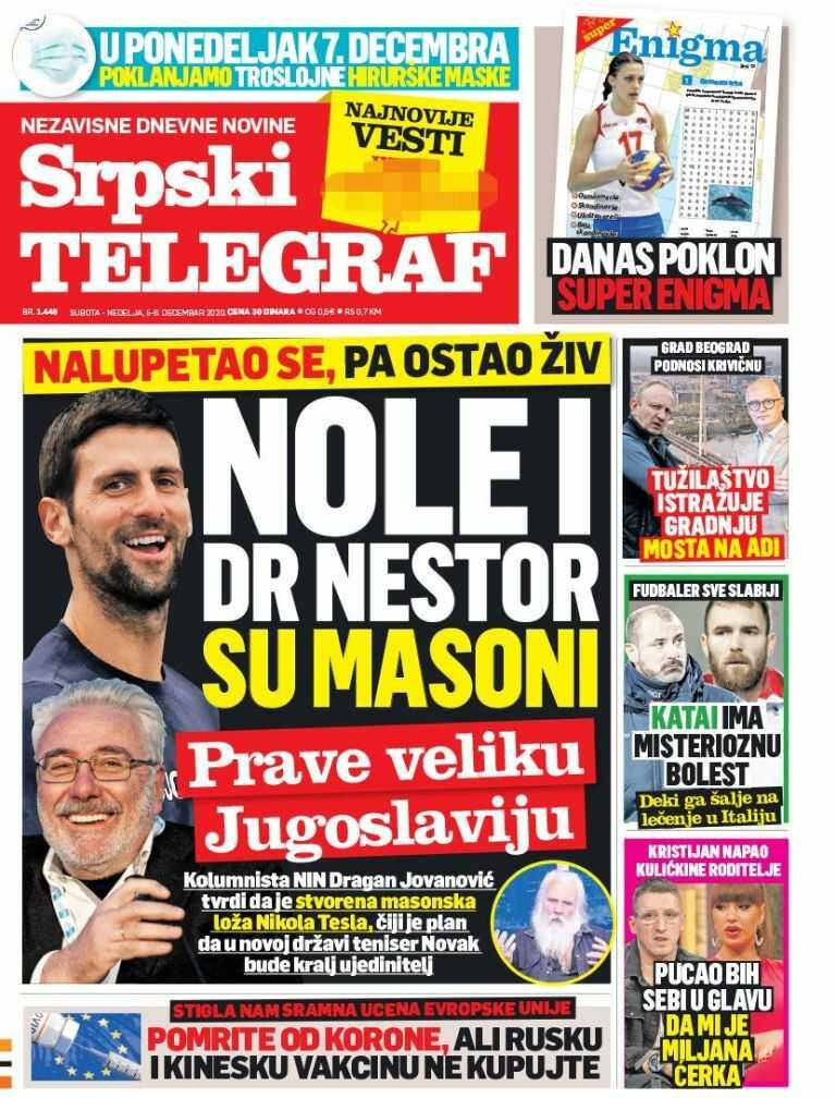Ovo su naslovne strane novina za subotu 05. decembar