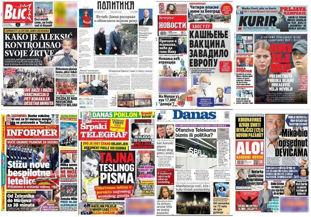 Ovo su naslovne strane novina za ČETVRTAK 28. januar Evo o čemu piše srpska štampa u današnjim izdanjima