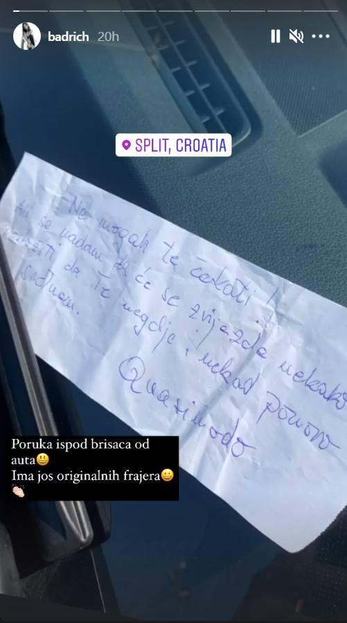 Ninu Badrić sačekala poruka ispod brisača: Ima još originalnih frajera