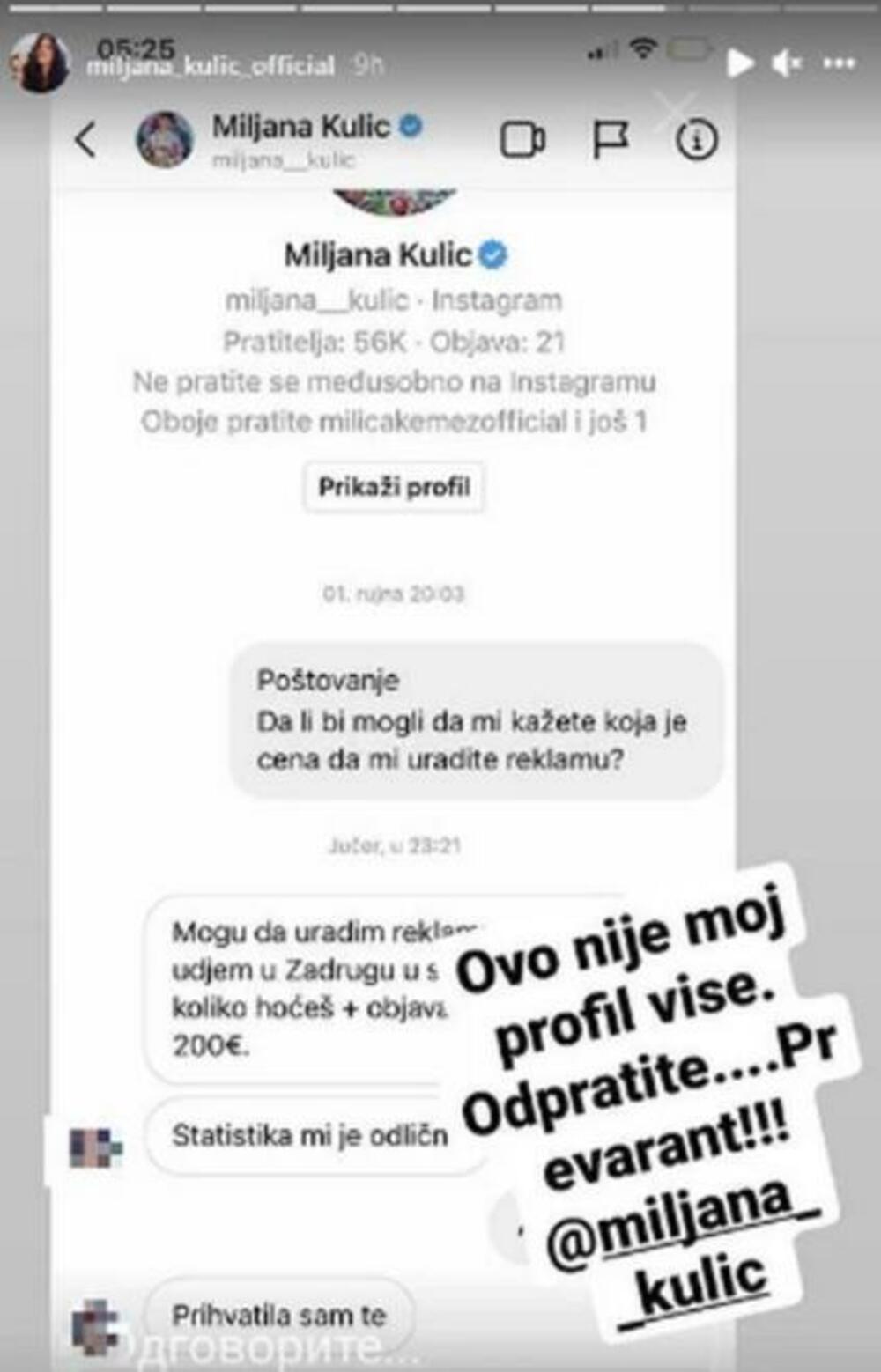 OBJAVA NA PROFILU 200 €, PLUS OBJAVA NA STORIJU! Lažni nalog Miljane Kulić PELJEŠI LJUDE, sve je prevara